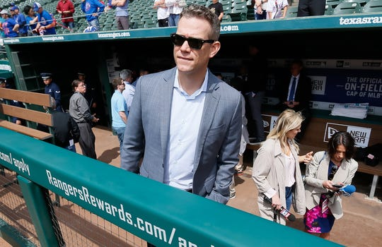 Epstein before a Cubs game in March 2019.