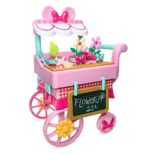 This cart is stocked with play-planting products making every imaginary market trip fun.