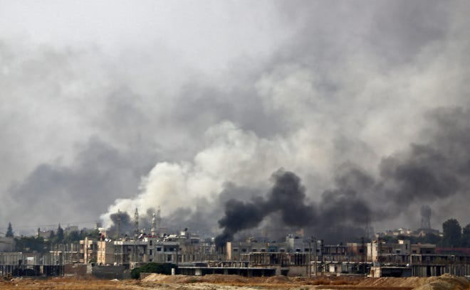 The Syrian border town of Ras al-Ain on Oct. 16, 2019, during the ongoing assault by Turkey and its allies on Kurdish-held towns in northeastern Syria.