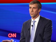 Beto O'Rourke speaks during the Democratic presidential primary debate at Otterbein University.