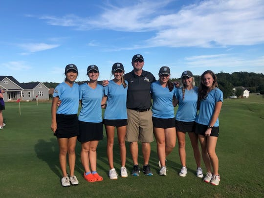 Daniel's girls golf team won the Region 1-AAAA title on Monday, October 14. (Left to right): Jennifer Gao, Sarah Whitfield, Peyton O'Brien, Andy Swords, Courtney Collins, Adrienne O'Brien, Alli Garmon.