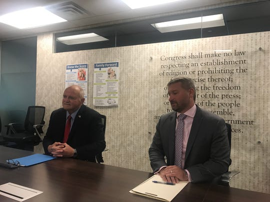 """Republican Toms River mayoral candidate Maurice B. """"Mo"""" Hill Jr., left, and his Democratic rival Jonathan Petro meet with the editorial board of the Asbury Park Press. Thursday, Oct. 17, 2019."""