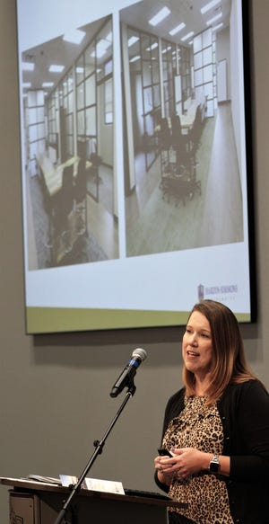 With images of the new Houston-Lantrip Center for Literacy and Learning shown to her right, Dr. Emily Dean, who is the director, talked about the many pluses and opportunities for Hardin-Simmons University students, educators and the community that will begin in 2020. The facility was dedicated to start homecoming activities at HSU.