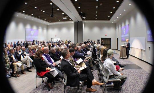 Eric Bruntmyer, president of Hardin-Simmons University, speaks Thursday to a full house in the training room of the new Houston-Lantrip Center for Literacy and Learning.