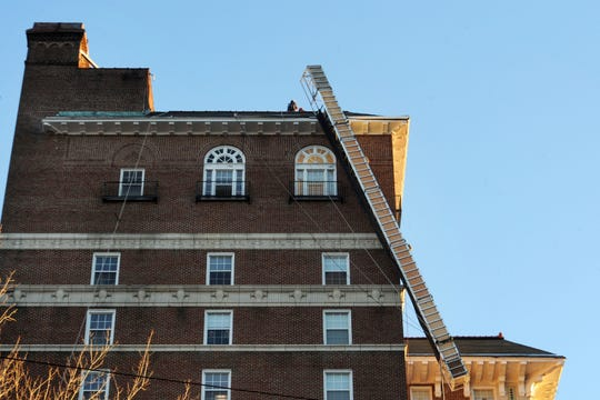 Emergency responders were quickly on scene in Dec. 2015 after scaffolding on the Battery Park apartments malfunctioned, with two workers on board. Both workers were able to climb back to safety.