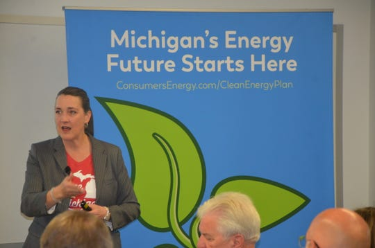 Patti Poppe addresses a crown of Calhoun County community members to discuss Consumer Energy's new clean energy plan.
