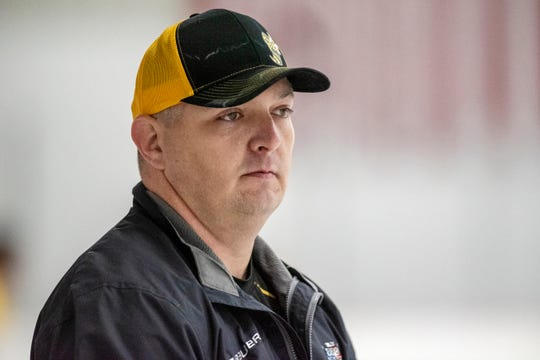 Coach Clint Hagmaier observes players during the Battle Creek Rumble Bees preseason training camp on Thursday, Oct. 17, 2019 at The Rink in Battle Creek, Mich.