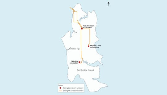 A map showing significant PSE infrastructure on Bainbridge Island. The utility plans to add a power line to create a transmission loop and redundancy in the system.