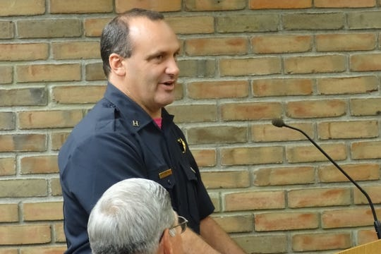 Bucyrus Fire Department Capt. Chad Schwemley speaks to council members about the need for a new firetruck during Tuesday's Bucyrus City Council meeting.