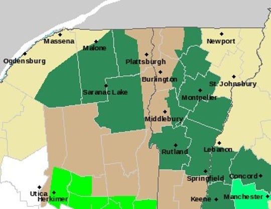 As of 8:15 a.m. on Thursday, Oct. 17, 2019, the National Weather Service's alert map showed that brown areas were under a wind advisory and dark green areas were under a flood watch.
