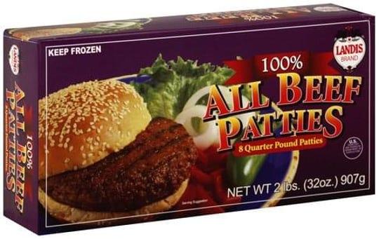 LANDIS BRAND 100% ALL BEEF PATTIES 8 Quarter Pound Patties.