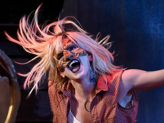 """Emily Thyme performs in """"Evil Dead the Musical,""""as seen rehearsing Wednesday, Oct. 16, 2019, at Harbor Playhouse. Warrington plays Shelly."""