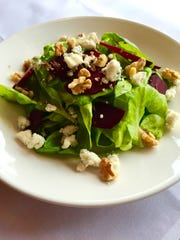 A Beet Salad - Bibb lettuce, walnuts, smoked blue cheese,  cranberry with a citrus dressing - from Anthony's Creative Italian Cuisine of Haddon Heights.