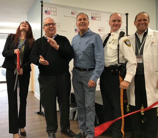 Recovery Centers of America's Bravo Medical celebrates its grand opening in Somerdale Wednesday. From left: Melissa Bishop, RCA national director of medication-assisted treatment; CEO Brian O'Neill; Somerdale Mayor Gary Passanante; Somerdale Police Chief Anthony Campbell; and Dr. Michael DeShields, RCA medical director.