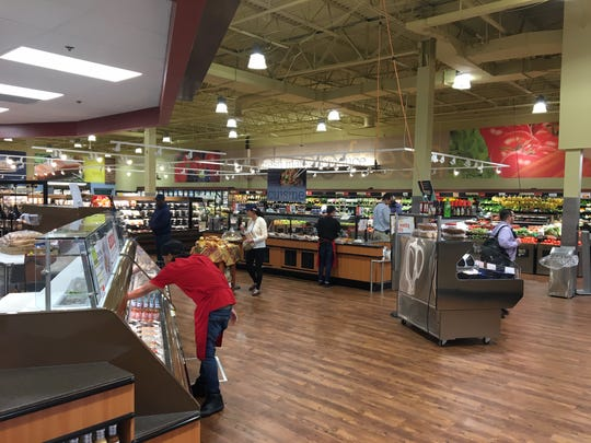 ShopRite of Mount Laurel recently underwent a major renovation. The expanded produce area is shown in the background. A newly added Asian cuisine bar is visible in the center as well as a sushi area and more hot food on the left.