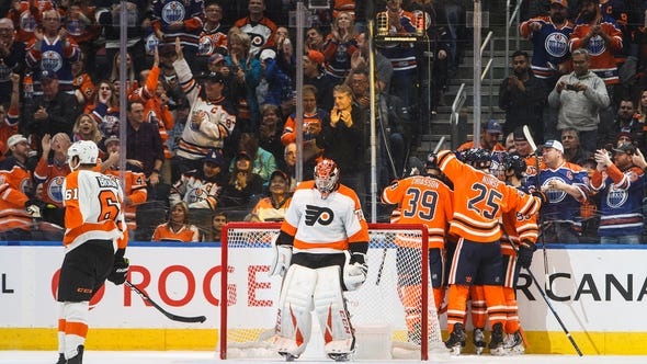 Carter Hart's homecoming was ruined by the Edmonton Oilers Wednesday night. He was pulled after allowing four goals on 14 shots.