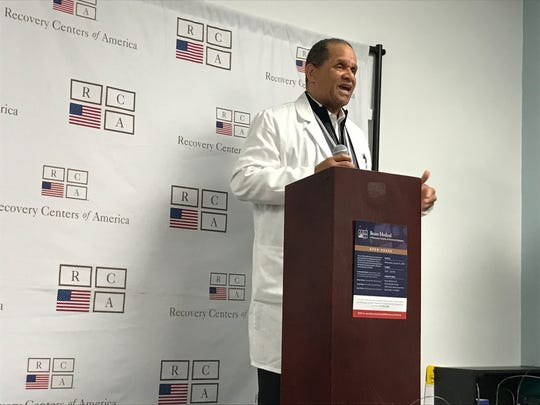 Dr. Michael DeShields, medical director for Recovery Centers of America's medication-assisted treatment program, speaks during an open house at Bravo Medical in Somerdale Wednesday.