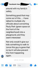 In messages obtained by The Enquirer, residents discuss how the pocket park would displace their neighbor, a registered sex offender.