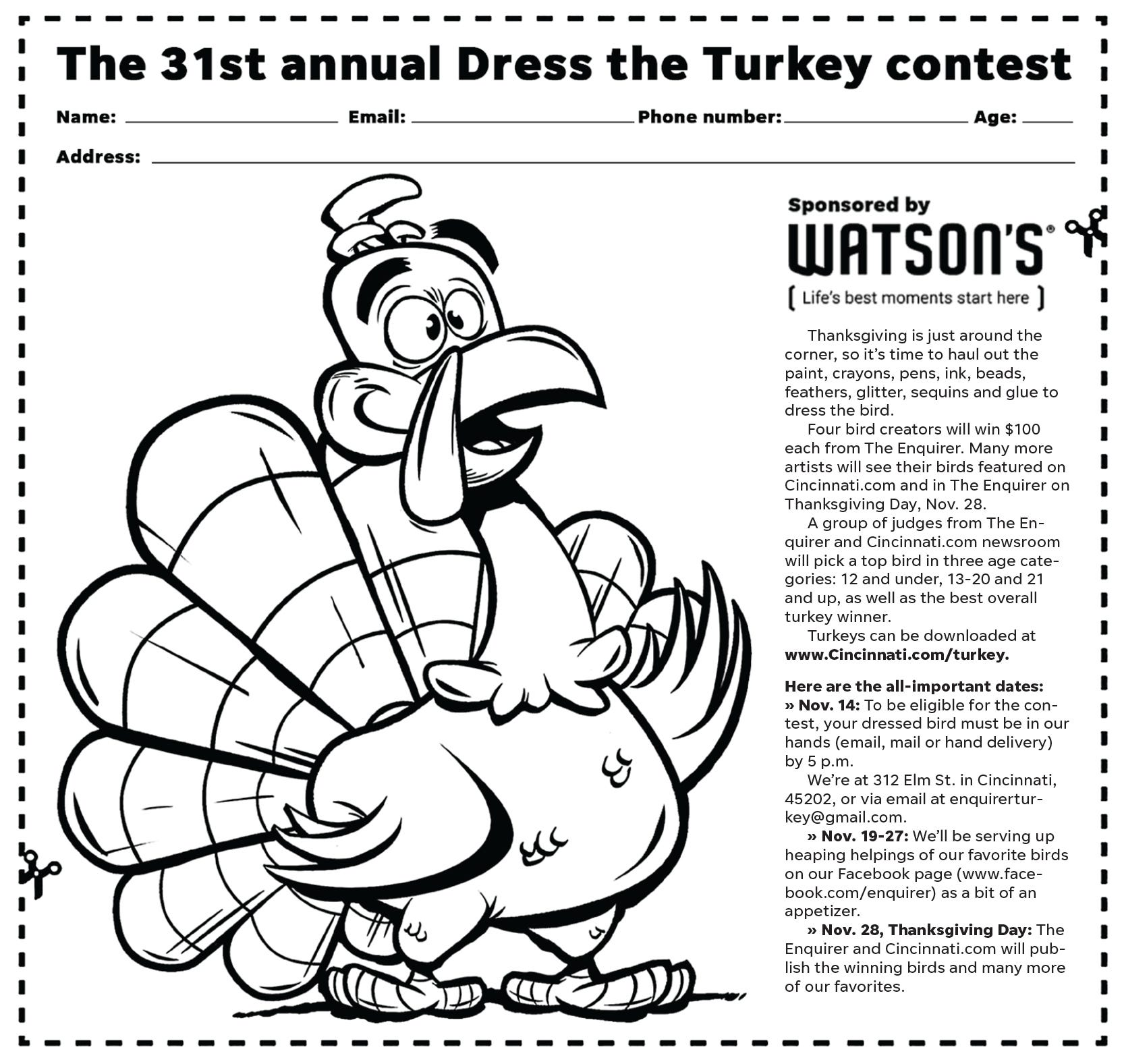 Enter The 31st Annual Dress The Turkey Contest Sponsored By Watson S