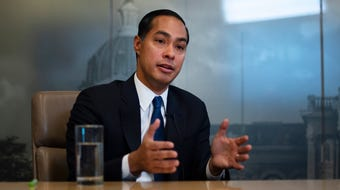 Julián Castro meets with the Register's editorial board on Oct. 17, 2019.