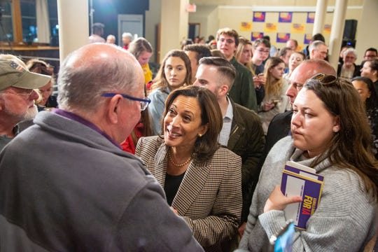 Sen. Kamala Harris, D-Calif. Greets supporters after a town hall in Dubuque Wednesday, Oct. 16, 2019.