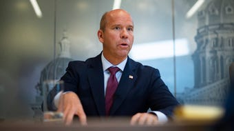 John Delaney meets with the Register's editorial board on Oct. 17, 2019.