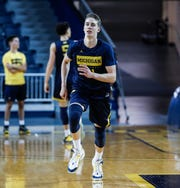 Michigan guard Franz Wagner practices at media day at Crisler Center in Ann Arbor, Thursday, Oct. 17, 2019.