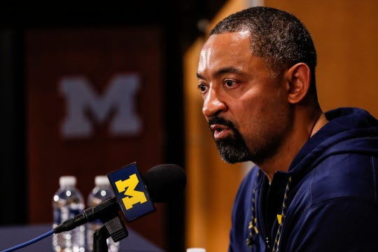 Michigan head coach Juwan Howard answers a question during media day at Crisler Center in Ann Arbor, Thursday, Oct. 17, 2019.