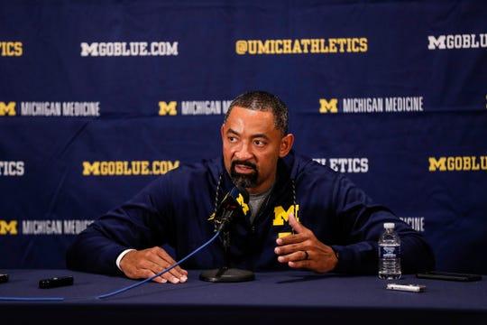 Michigan head coach Juwan Howard answers a question during media day at Crisler Center in Ann Arbor, Thursday, Oct. 17, 2019.