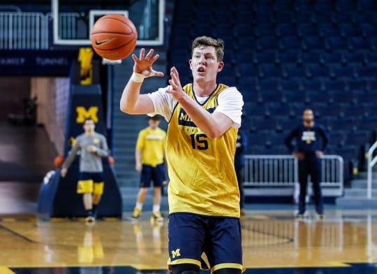 Michigan center Jon Teske (15) at practice during media day at Crisler Center in Ann Arbor, Thursday, Oct. 17, 2019.