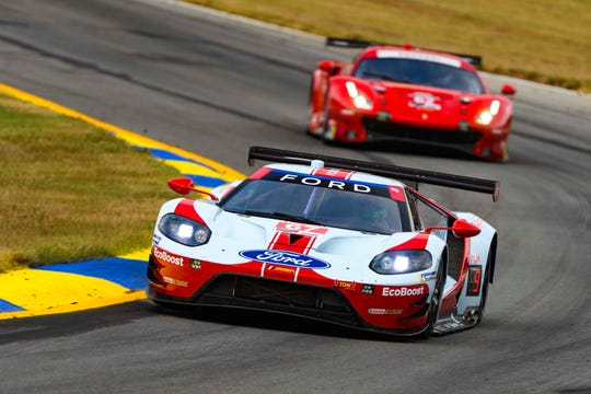 The #67 Ford GT finished second at its last race - behind the Ferrari 488 seen in the background.
