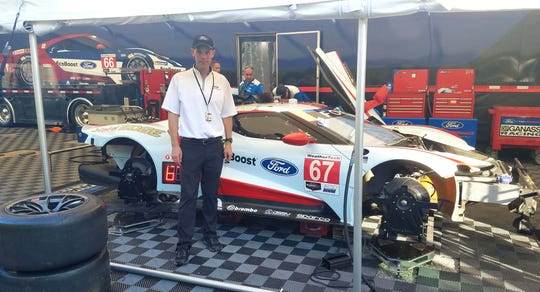Ford Performance Motorsports boss Mark Rushbrook in front of the Ford GT in Road Atlanta.