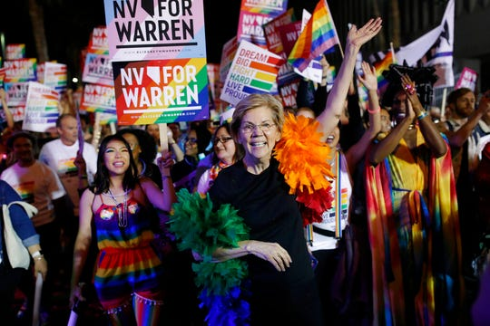 Democratic presidential candidate Sen. Elizabeth Warren, D-Mass., marches in the Las Vegas Pride Parade in this Friday, Oct. 11, 2019, file photo. Warren received the endorsements of 24 Democratic leaders in Iowa.