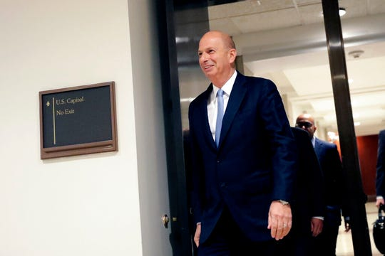 US Ambassador to the European Union Gordon Sondland, arrives for a joint interview with the House Committee on Foreign Affairs, House Permanent Select Committee on Intelligence, and House Committee on Oversight and Reform on Capitol Hill in Washington, Thursday, Oct. 17, 2019.