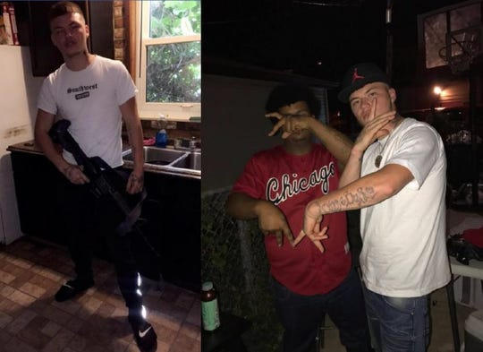 Ryan Taylor, in a white shirt, brandishes an assault rifle and flashes Latin Counts gang signs along with Alberto Jackson.