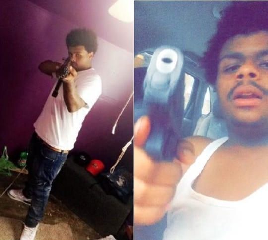 Alberto Jackson is shown aiming an assault rifle and a handgun.