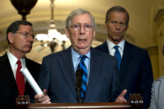 Senate Majority Leader Mitch McConnell, R-Ky., speaks with the media after the Senate Policy Luncheon in Capitol Hill in Washington, Wednesday, Oct. 16, 2019.