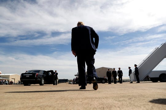 President Donald Trump walks away after speaking about Turkey as he arrives at Naval Air Station Joint Reserve Base in Fort Worth, Texas, Thursday, Oct. 17, 2019. As an intellectual exercise, Raymond James analysts tried to imagine what would happen if President Trump just up and quit.