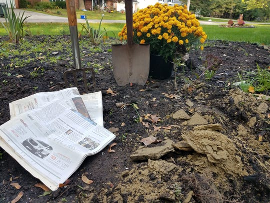 In a no-till or no-dig garden, the soil is covered with a layer of newspapers and a combination of organic materials that will break down over the winter.