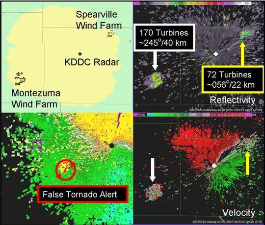 Radar interference is shown near Dodge City, Kansas.