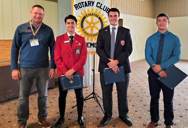 Left to right are Roger Kuns, Fremont Rotary Club President; Isaac Minor, Vanguard Career Center; Jack Militello. St. Joseph Central Catholic High School; and  Isaac Smith, Fremont Ross High School.
