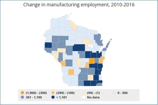 Change in Manufacturing Employment as mapped by Georgetown University's Center on Education and the Workforce using Bureau of Labor Statistics data.