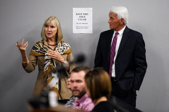 Greenville County administrator Joe Kernell, right, speaks with Nancy Whitworth during a Greenville Planning Commission meeting on the redevelopment of County Square Thursday, Oct. 17, 2019 at Greenville City Hall.