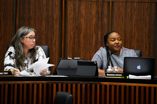 Shontavia Jackson Johnson, right, and Meg Terry of the Greenville Planning Commission during a meeting on the redevelopment of County Square Thursday, Oct. 17, 2019 at Greenville City Hall.