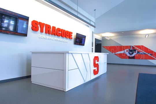 Inside the Syracuse University indoor football practice facility