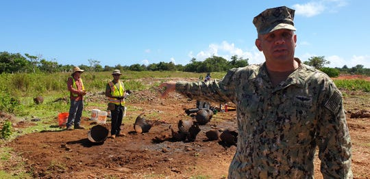 Eight members of the 35th Guam Legislature visited the future Marine Corps' live-fire training range complex and main cantonment on Thursday, Oct. 17, including areas where artifacts have been discovered.