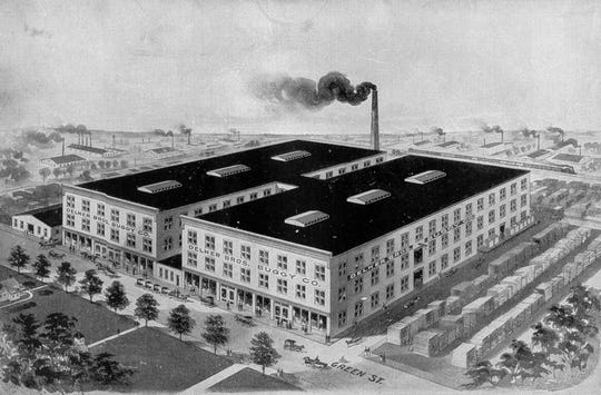 This stylized depiction of the Delker Bros. Buggy Co. appeared in a 1911 pamphlet issued by the Henderson Commercial Club. The building occupied most of the east side of Green Street between First and Second streets. The Delker family began building buggies here in 1863 and by 1898 was shipping them to every state in the nation. In 1921 it began building furniture and it built its last buggy in 1926. The business closed in 1973 and the building was razed in the fall of 1975.