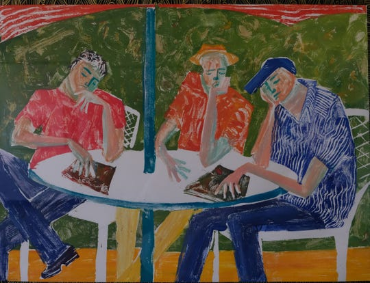 """Cafe Roma"" by Kazhia Kolb is part of the ""Together We Print"" exhibit at the OVAL gallery in downtown Henderson."