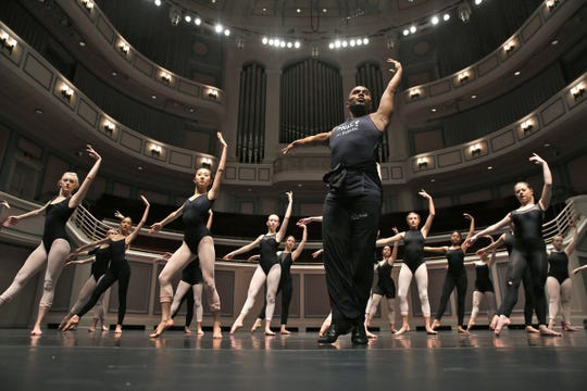 Carlos dos Santos (center) gives a master class held on the stage at the Palladium during the Youth America Grand Prix events March 5, 2017.