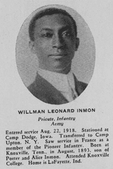 Leonard Inman was one of eighteen African American soldiers from Tippecanoe County who served during World War I.